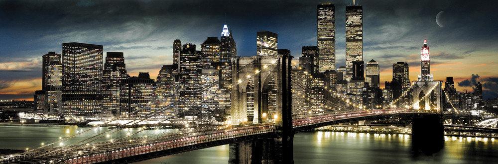 Manhattan - night and moon - плакат