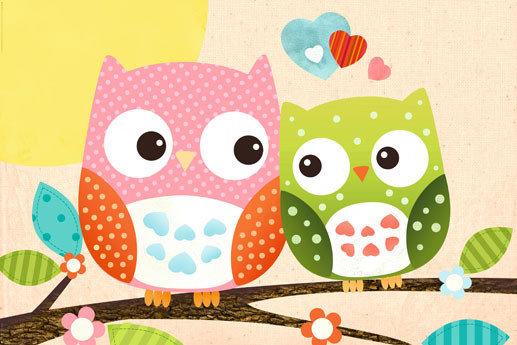 Sweet owl hello p ster l mina compra en - Laminas infantiles para cuadros ...
