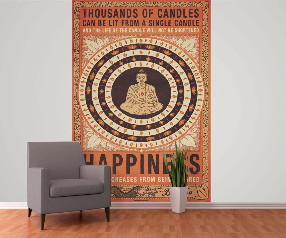 Thousand of candles buddha happiness poster mural - Poster mural sur mesure ...