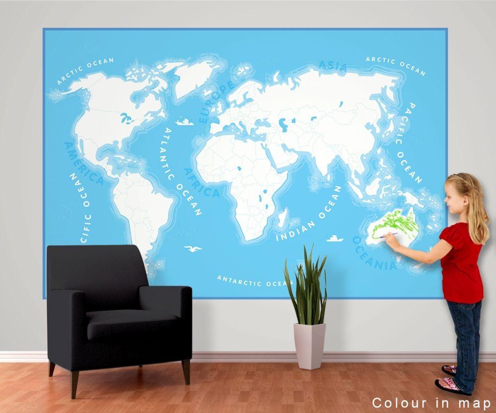 Carta da parati mappa del mondo per i bambini for Carta parati mondo