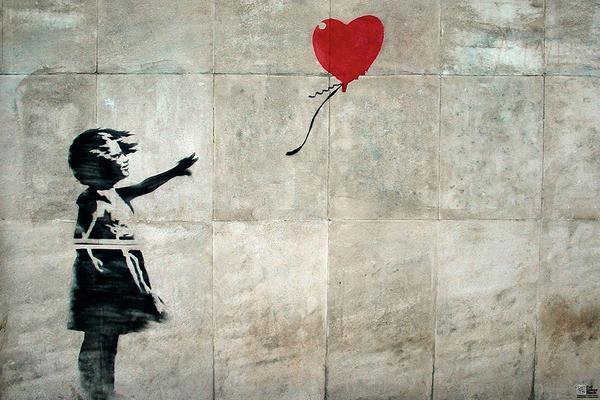 Plakat obraz banksy street art hope kup na - Murales pintados en la pared ...