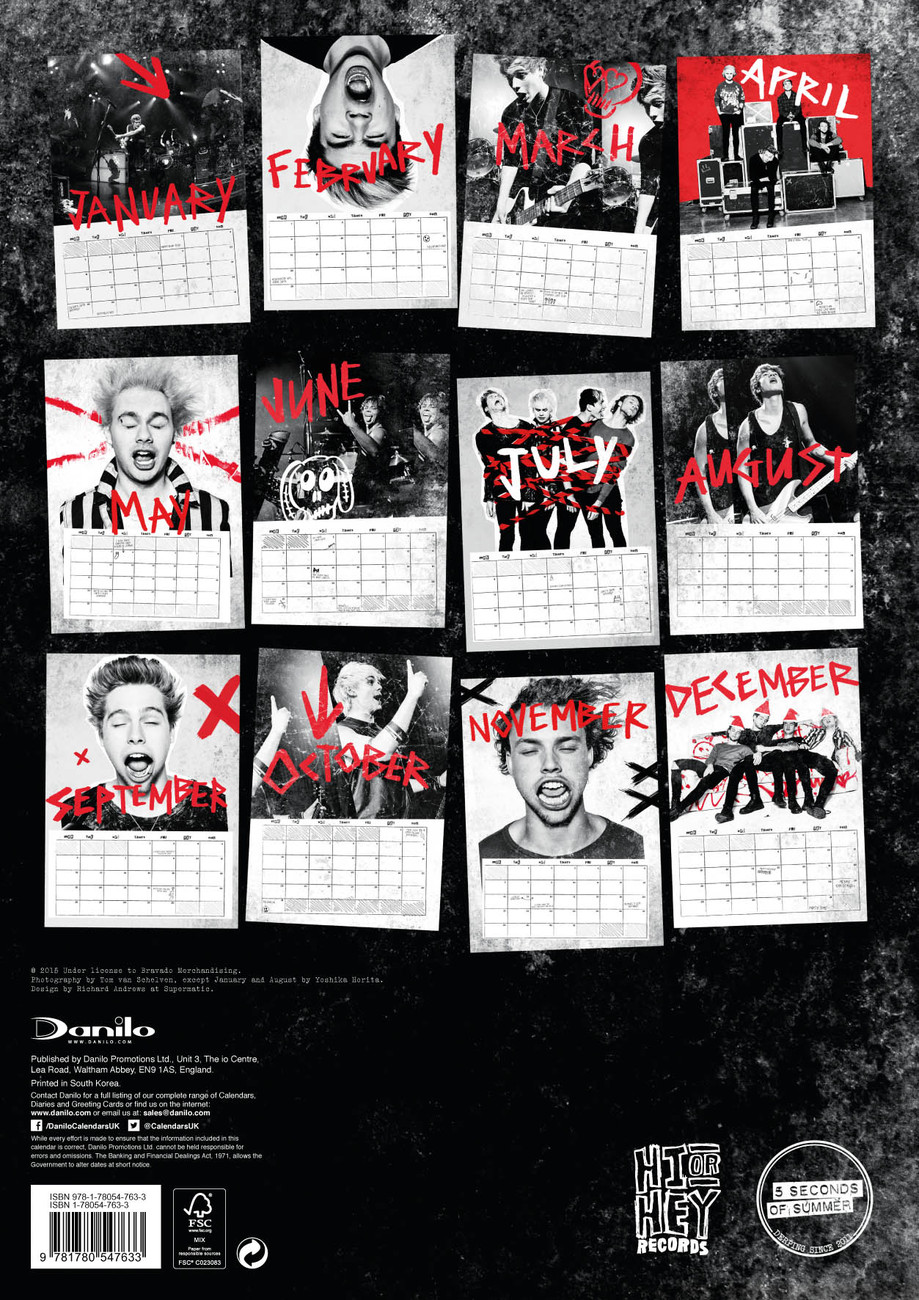 5 Seconds of Summer - Calendarios 2018