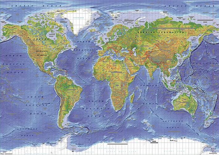 Poster quadro mappa fisica del mondo su - Mappa del mondo contorno ks2 ...