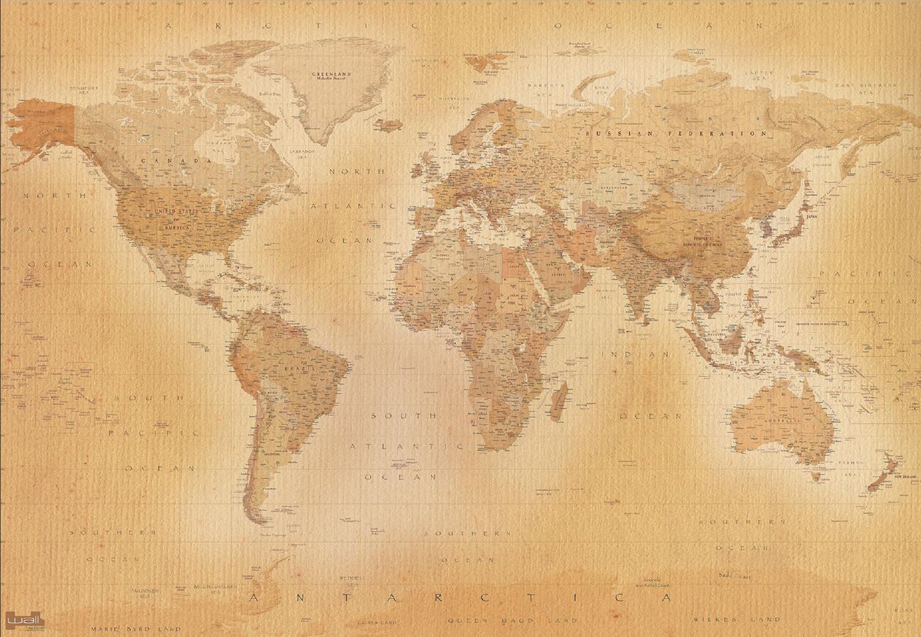 Carta da parati mappa del mondo old map for Carta da parati cartina geografica