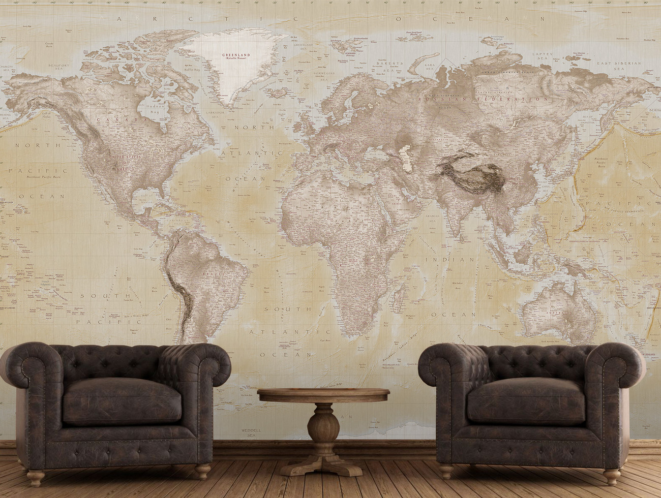 Carta da parati mappa del mondo neutral for Art mural wallpaper uk