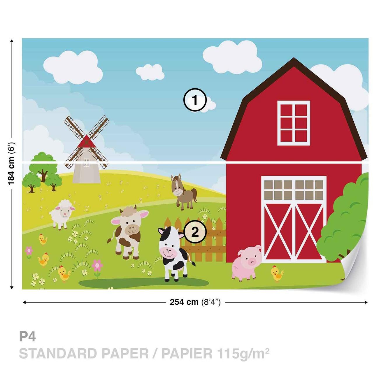 Carta da parati cartone animato fattoria cameretta