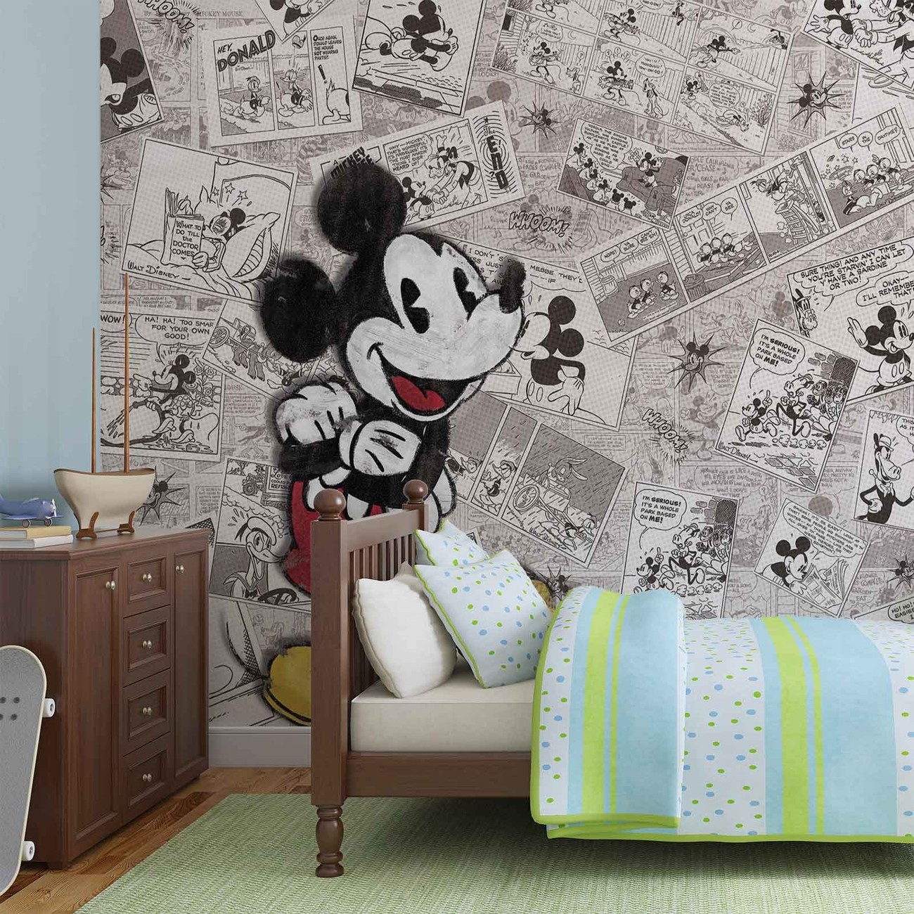 disney myszka miki retro gazeta fototapeta tapeta kup. Black Bedroom Furniture Sets. Home Design Ideas