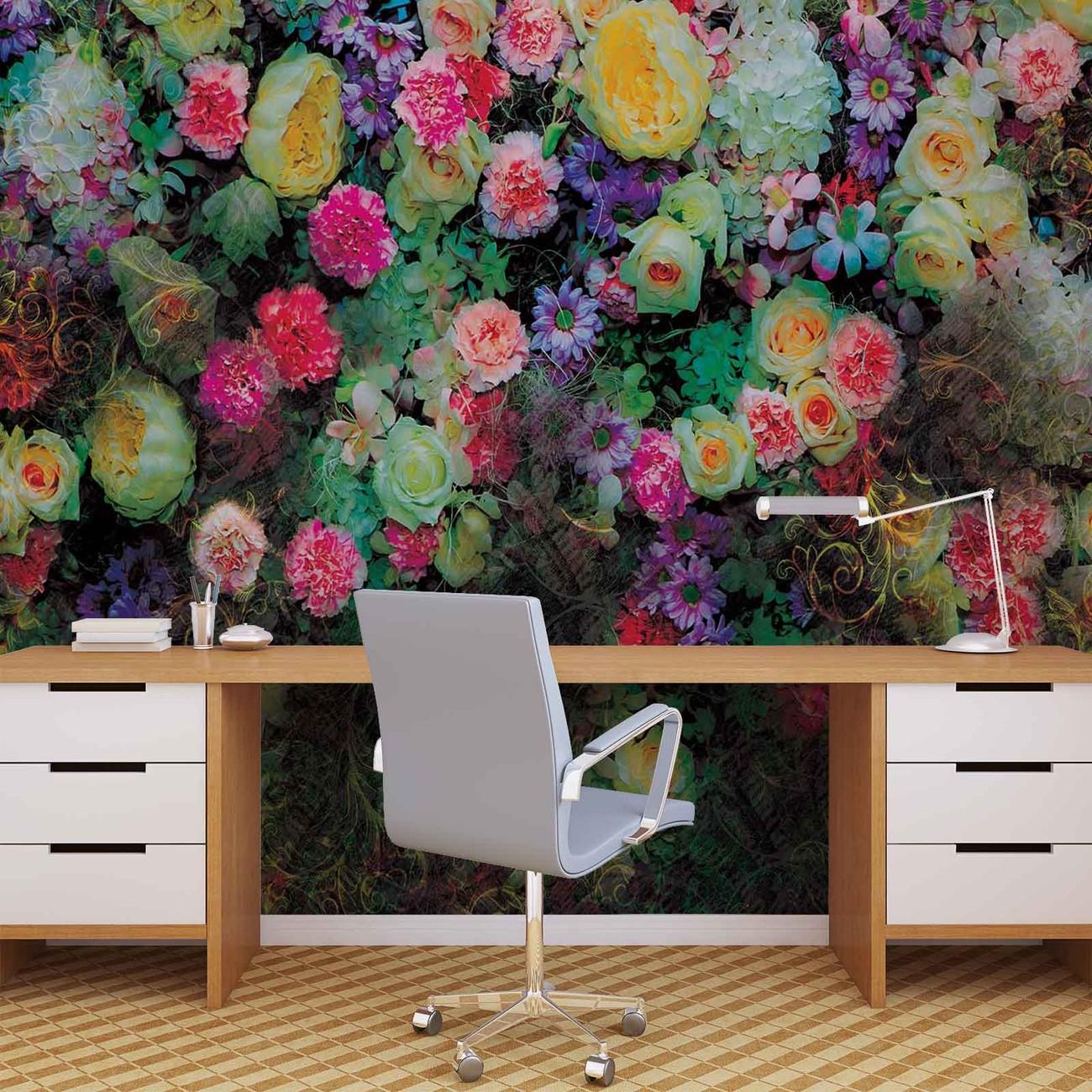 fototapete tapete blumen bunt design bei europosters. Black Bedroom Furniture Sets. Home Design Ideas