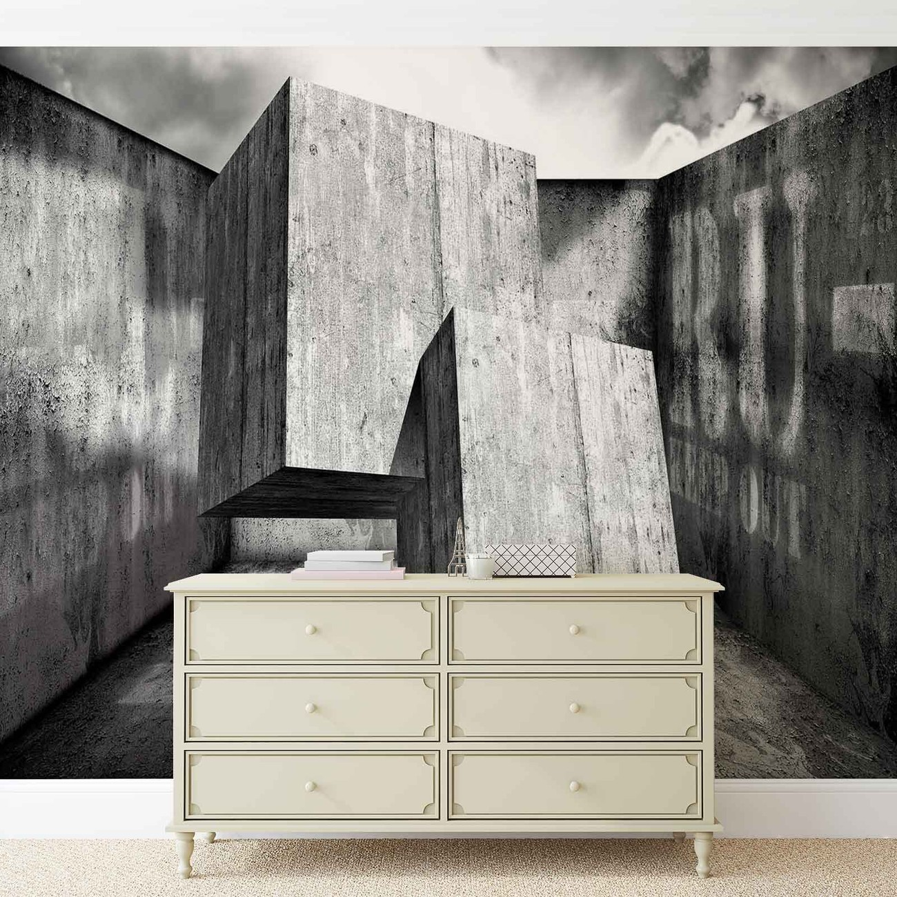fototapete tapete abstrakt modern beton quadrate bei. Black Bedroom Furniture Sets. Home Design Ideas