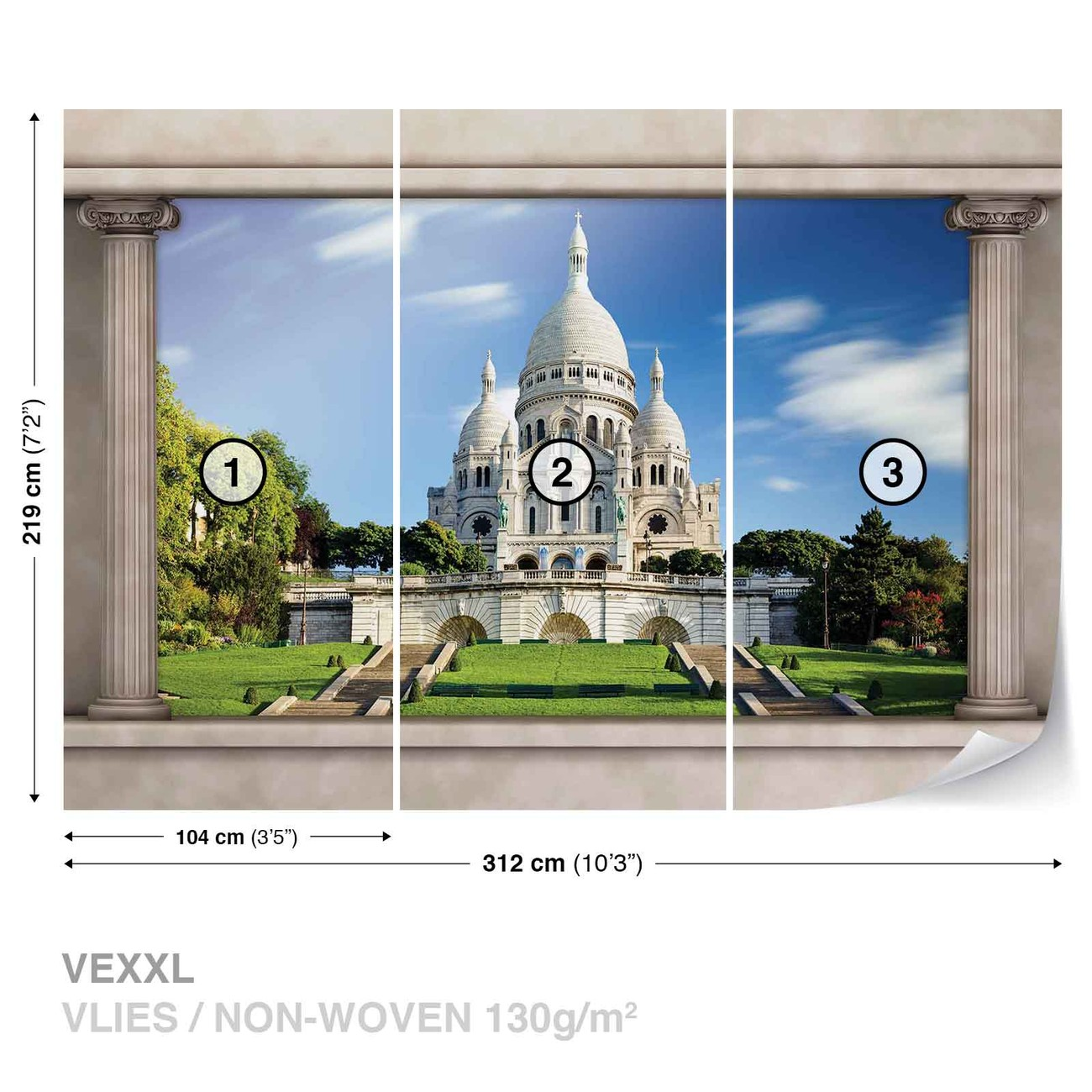paris sacre c ur vue de fen tre poster mural papier peint acheter le sur. Black Bedroom Furniture Sets. Home Design Ideas