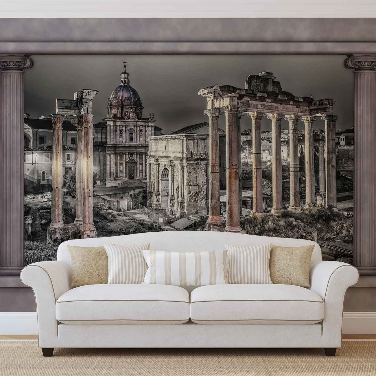 ruine rome ville vue de la fen tre poster mural papier. Black Bedroom Furniture Sets. Home Design Ideas