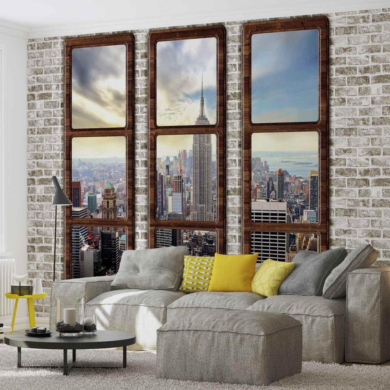 Fotomurale vista de la ventana del horizonte de la ciudad - Papel pintado nueva york ...