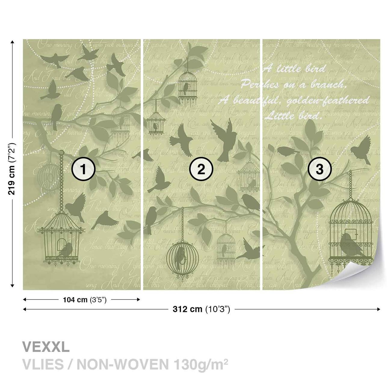 oiseaux verts arbres poster mural papier peint acheter le sur. Black Bedroom Furniture Sets. Home Design Ideas