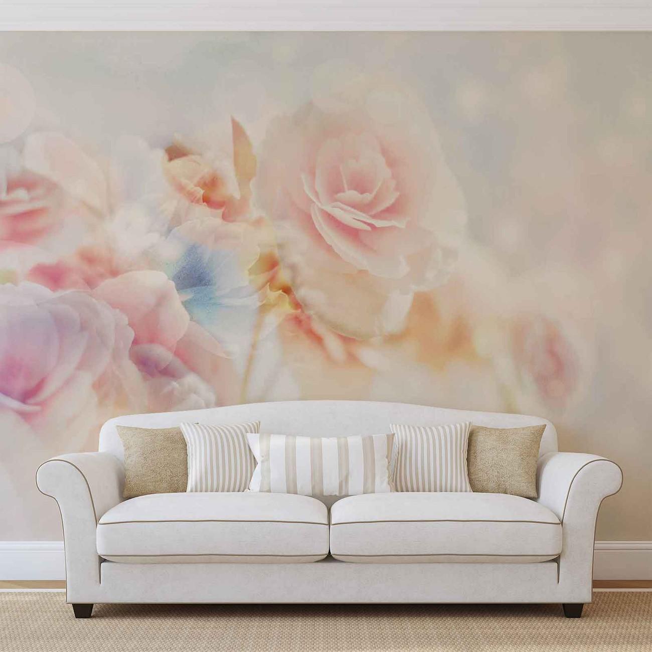 Kwiaty pastelowe kolory fototapeta tapeta kup na for Carta da parati fiori grandi