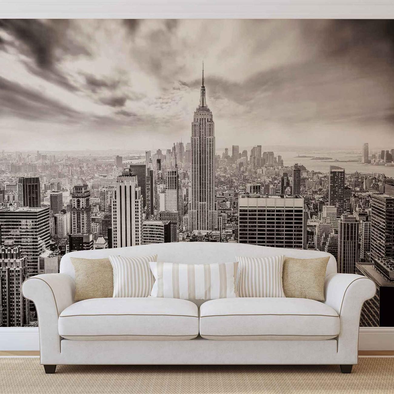 Fotomurale ciudad skyline empire state nueva york papel - Papel pintado nueva york ...