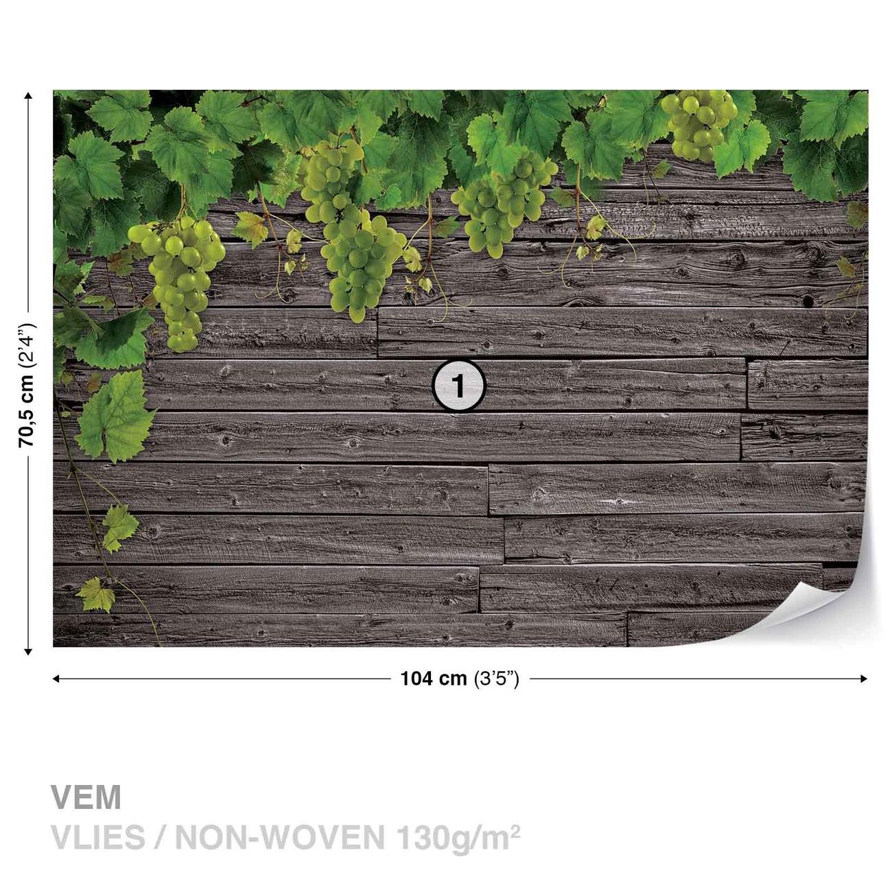 Carta da parati muro in legno con uva for Carta da muro adesiva