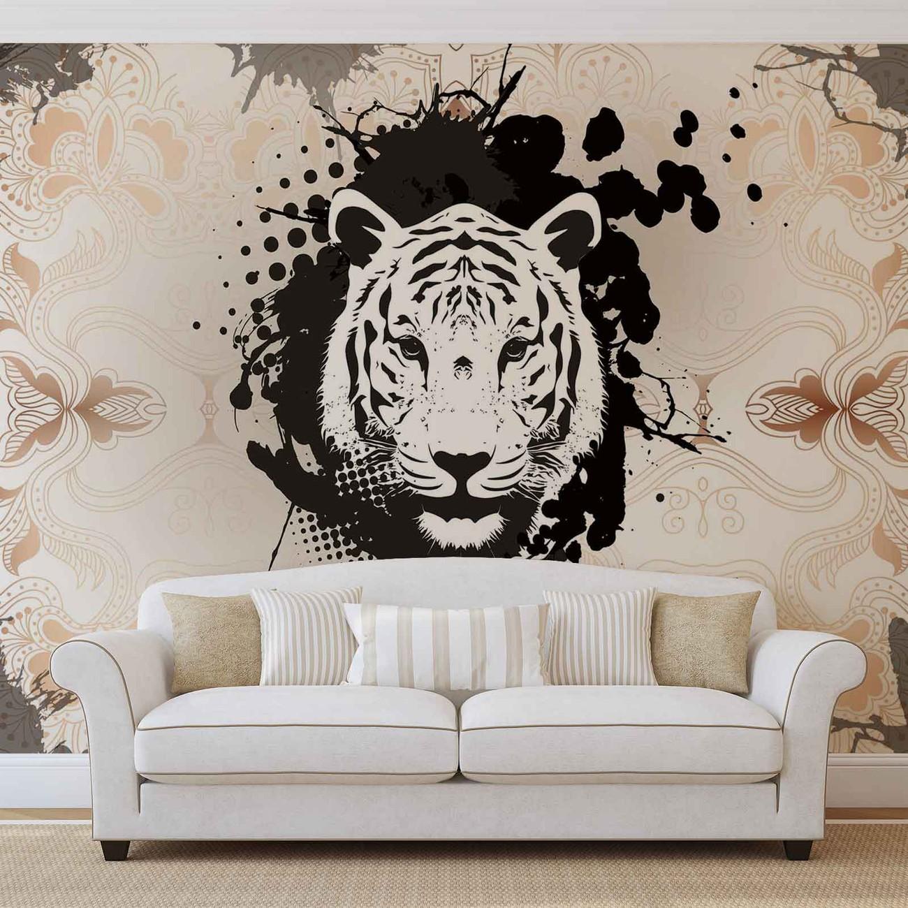 fototapete tapete tiger abstrakt bei europosters. Black Bedroom Furniture Sets. Home Design Ideas