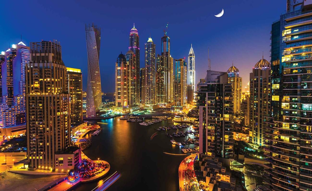 Fotomurale Ciudad Dubai Rascacielos Noche, Papel Pintado