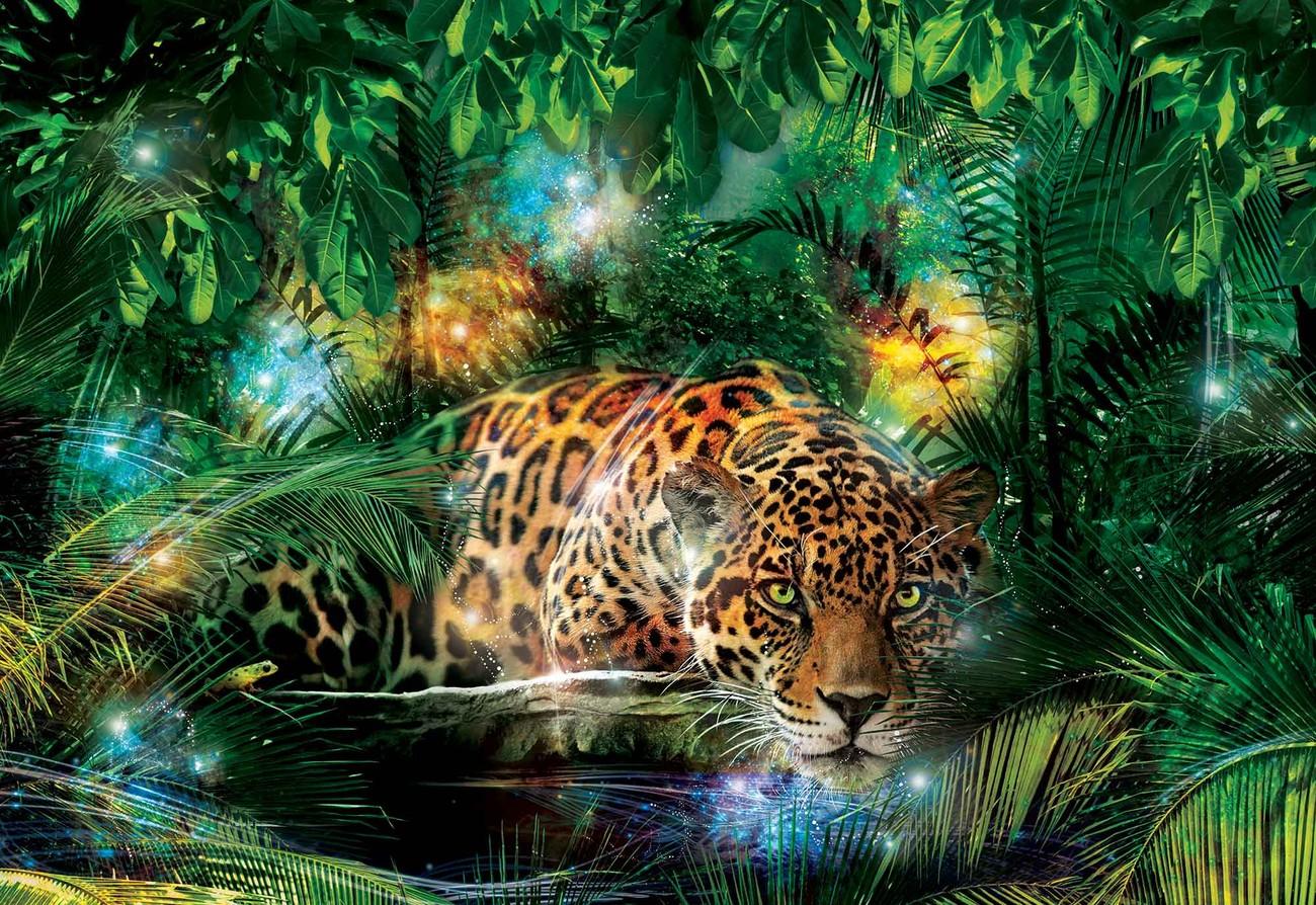 fototapete tapete leopard dschungel bei europosters. Black Bedroom Furniture Sets. Home Design Ideas