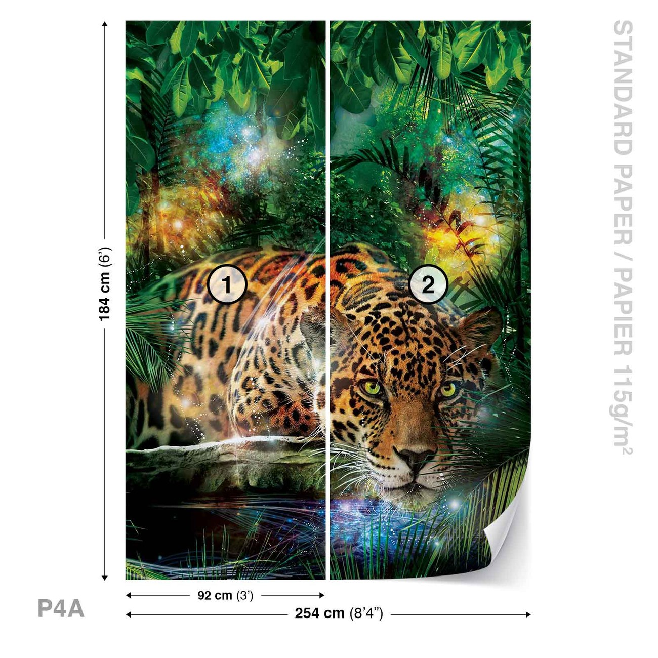 l opard dans la jungle poster mural papier peint. Black Bedroom Furniture Sets. Home Design Ideas