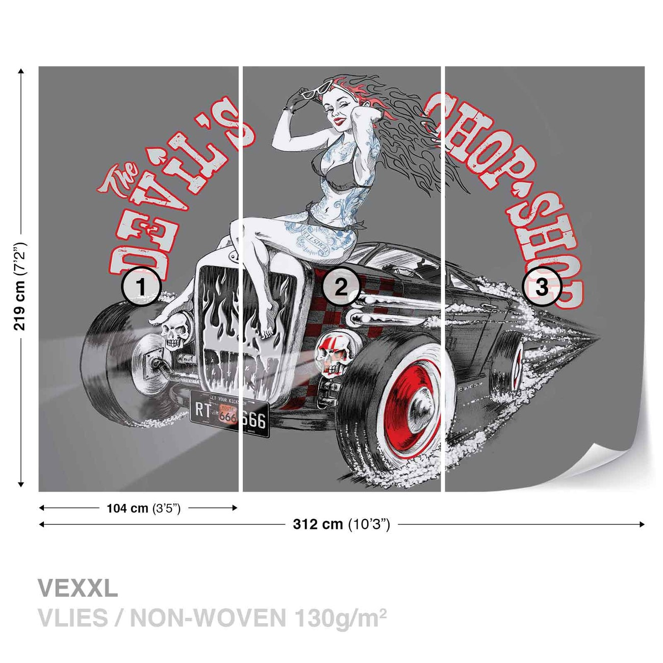 alchimie hot rod devil voiture poster mural papier peint acheter le sur. Black Bedroom Furniture Sets. Home Design Ideas
