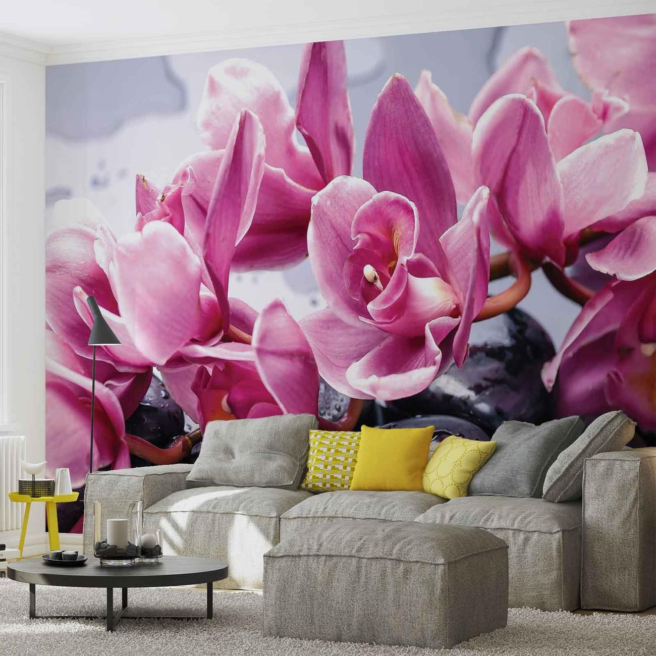 Fleurs orchid es pierres zen poster mural papier peint for Poster xxl mural zen