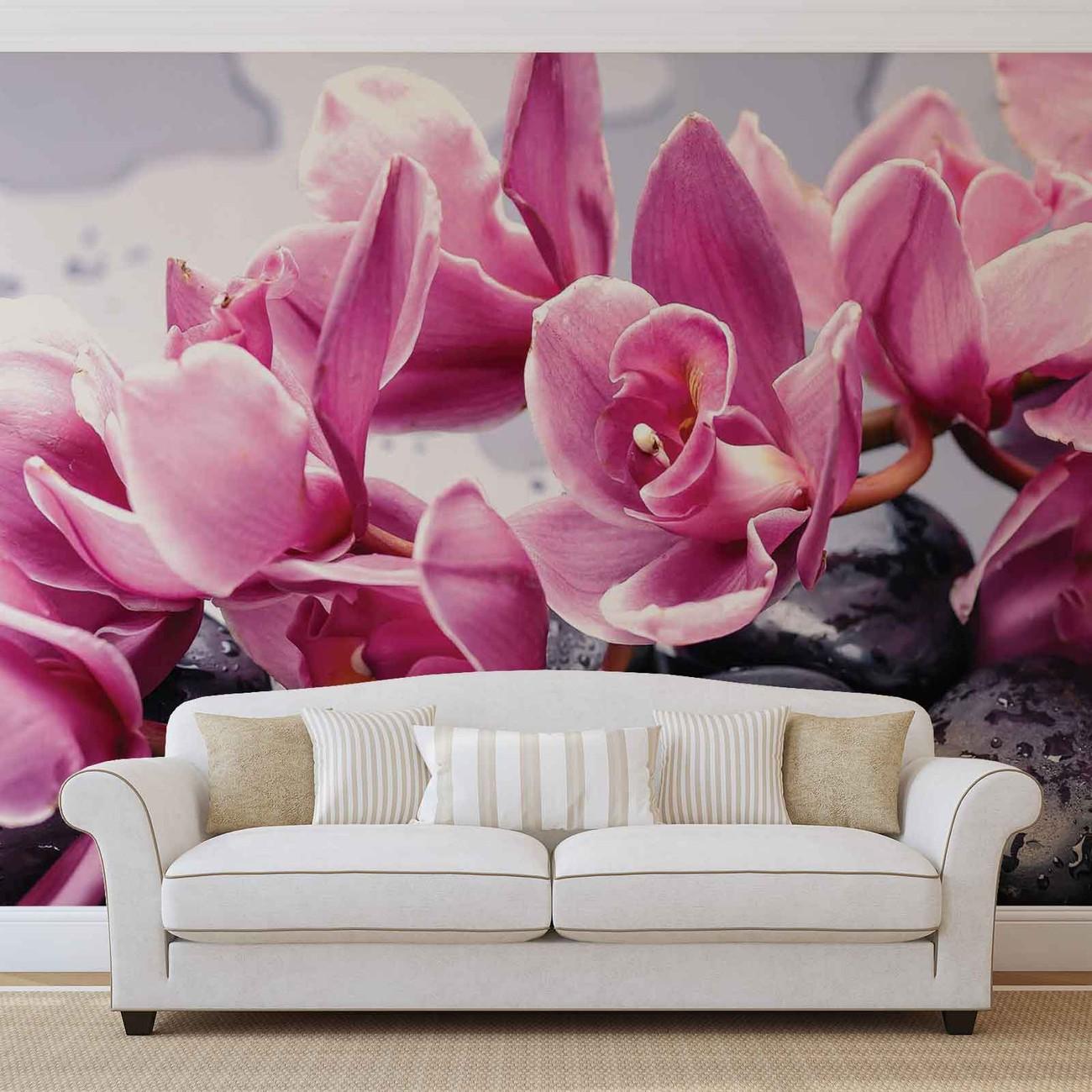 Carta da parati fiori orchidee pietre zen for Carta da parati 3d fiori