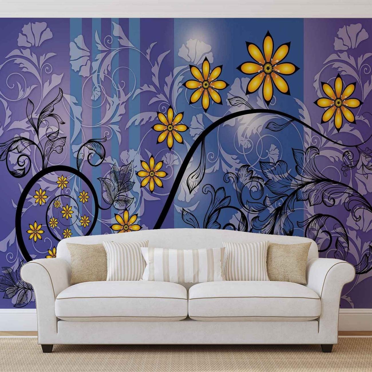Motif floral de fleurs poster mural papier peint - Poster mural sur mesure ...