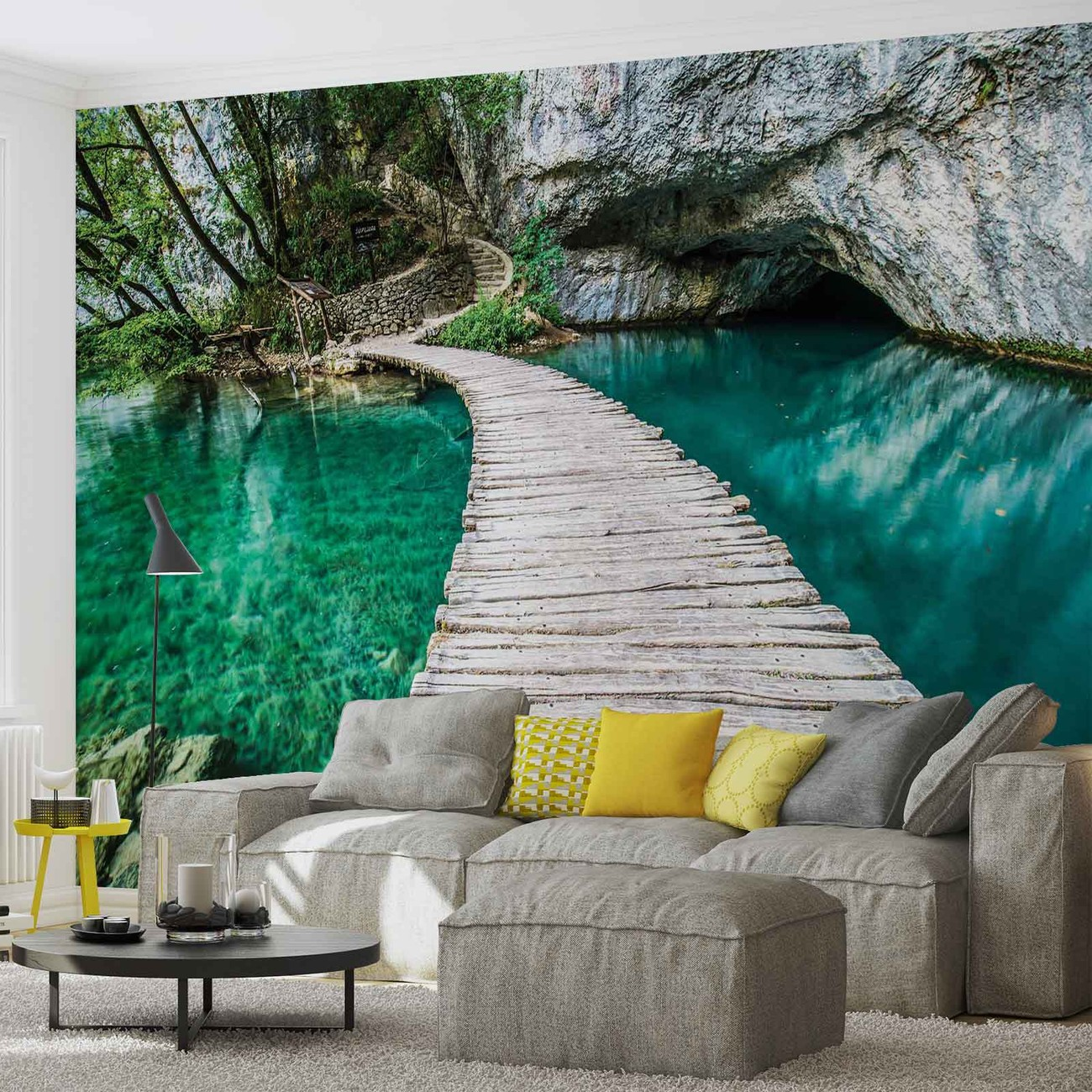 pont en bois dans la lagune poster mural papier peint. Black Bedroom Furniture Sets. Home Design Ideas
