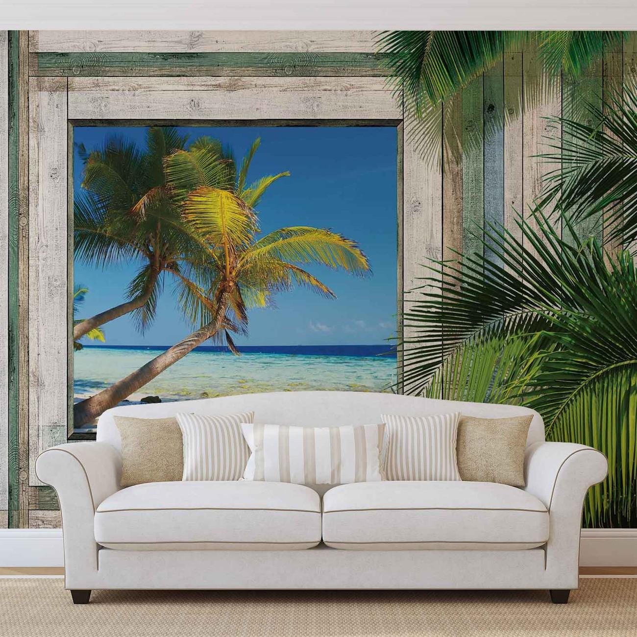 Vue plage tropical poster mural papier peint acheter le - Poster mural sur mesure ...