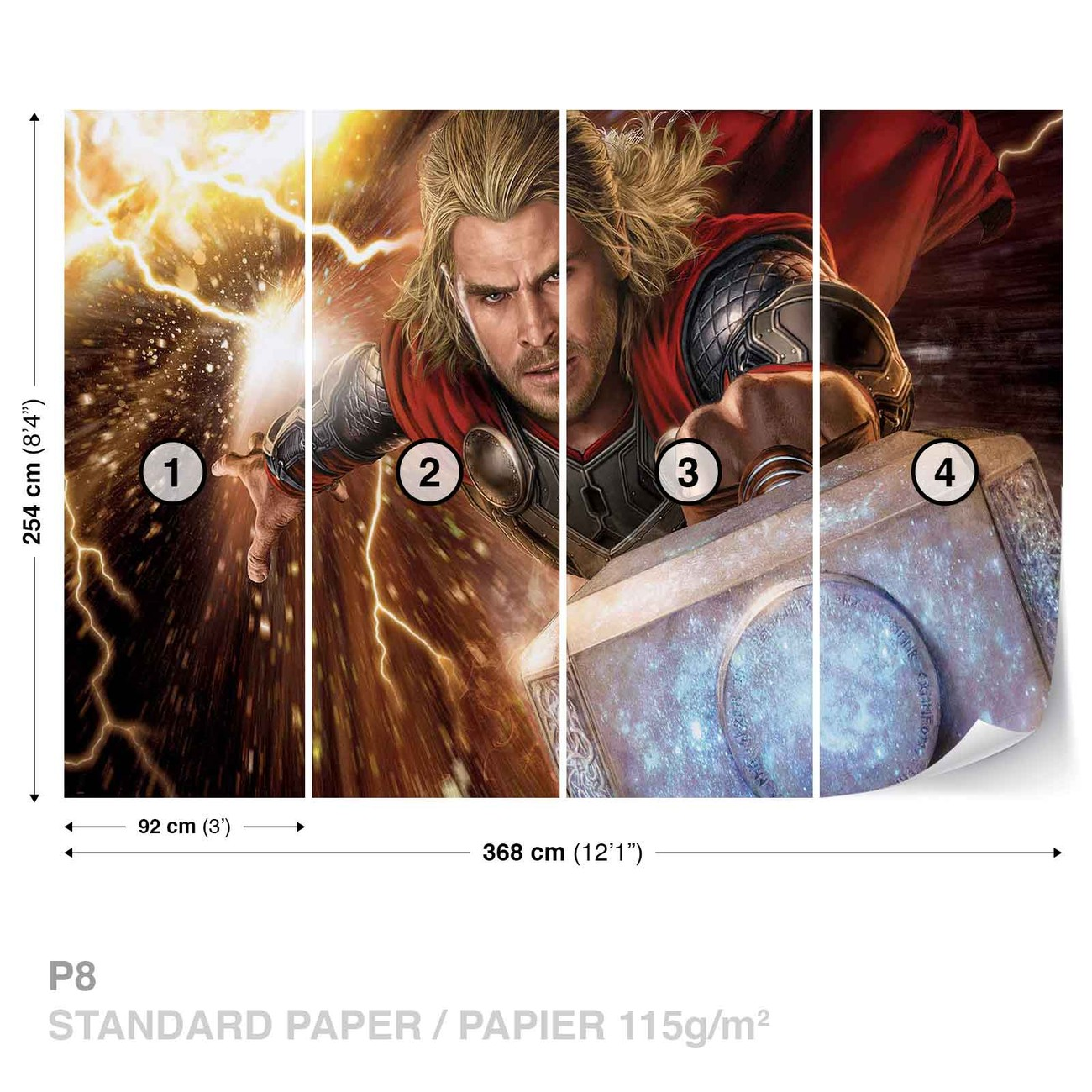 marvel avengers thor poster mural papier peint acheter. Black Bedroom Furniture Sets. Home Design Ideas