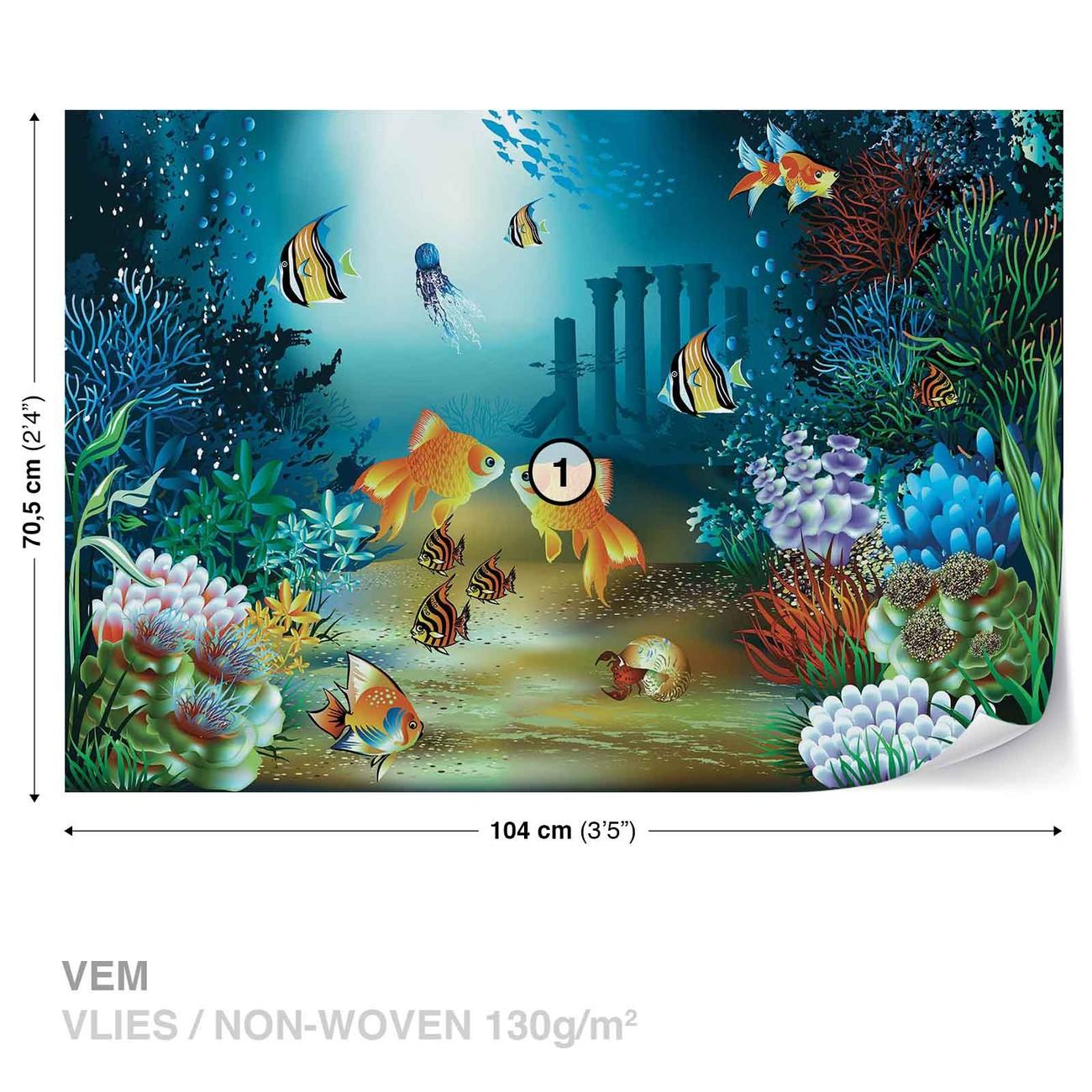 poisson et coraux dans la mer poster mural papier peint acheter le sur. Black Bedroom Furniture Sets. Home Design Ideas