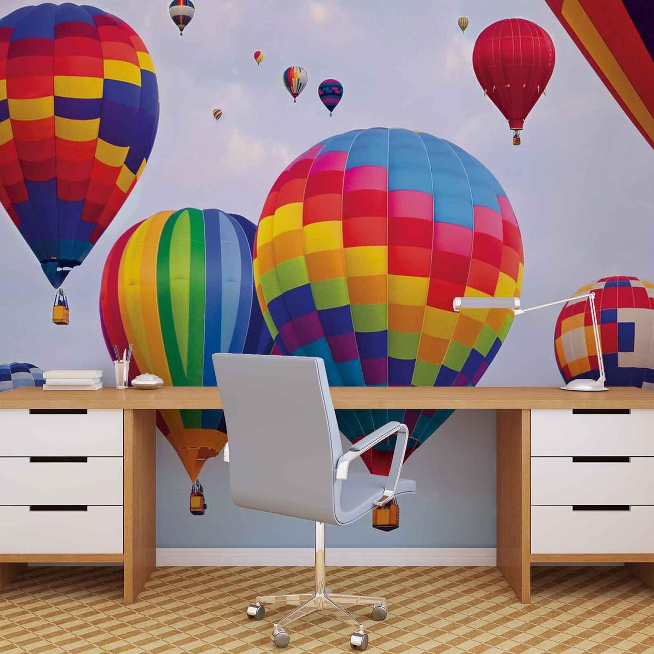 montgolfi res couleurs poster mural papier peint acheter le sur. Black Bedroom Furniture Sets. Home Design Ideas