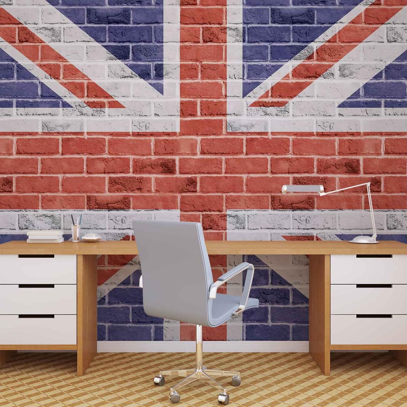 mur en briques drapeau anglais poster mural papier peint acheter le sur. Black Bedroom Furniture Sets. Home Design Ideas
