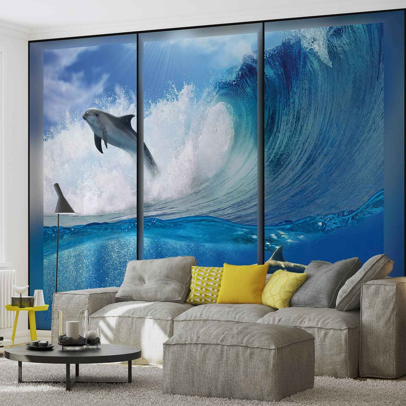 dauphins saut vagues mer poster mural papier peint. Black Bedroom Furniture Sets. Home Design Ideas