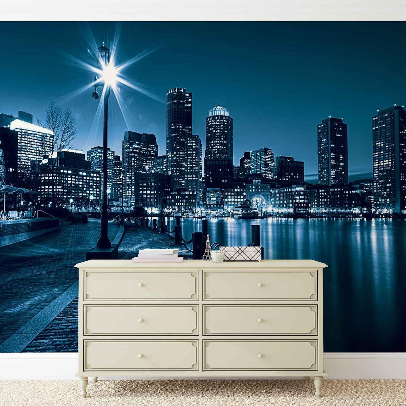 fototapete tapete stadt boston skyline bei europosters. Black Bedroom Furniture Sets. Home Design Ideas