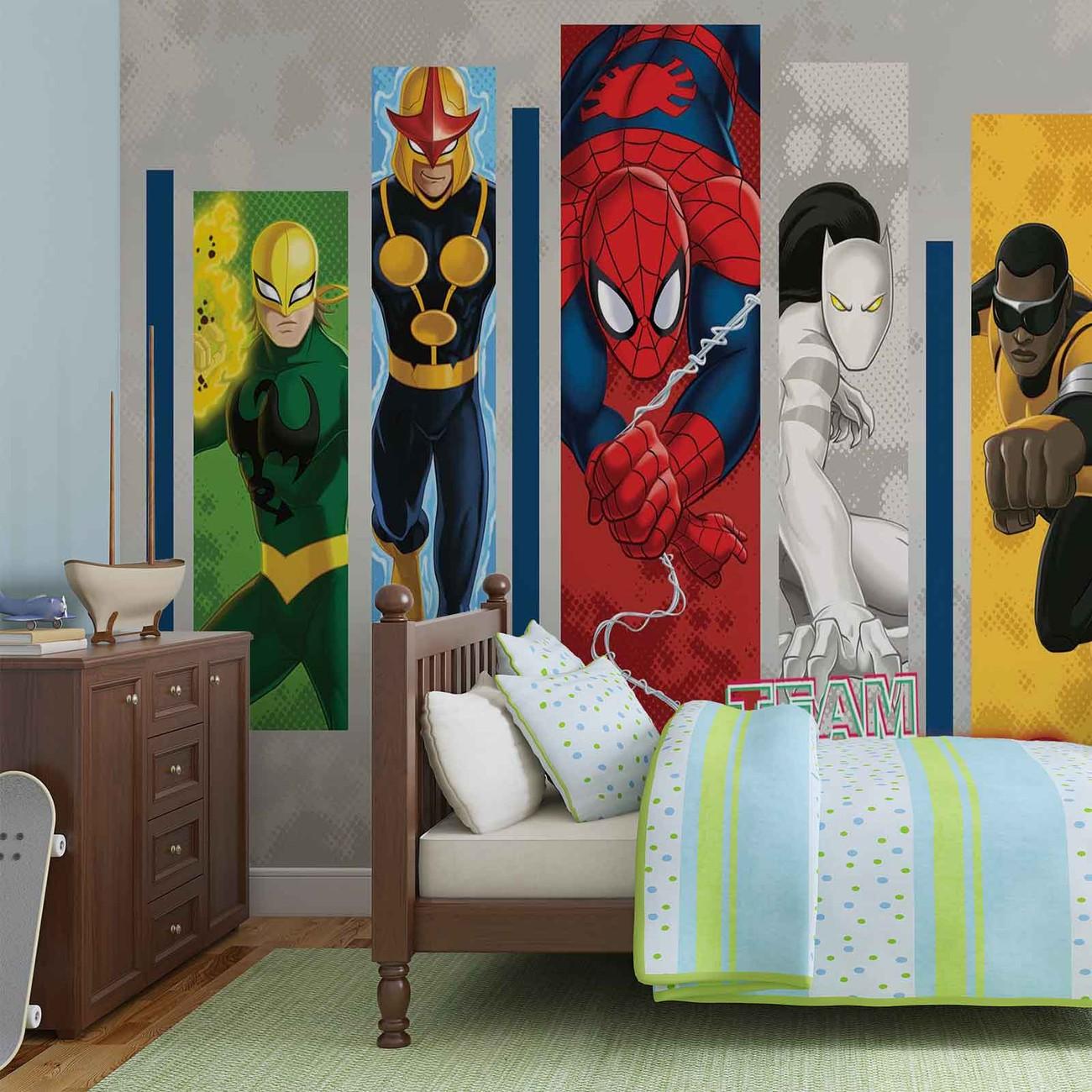 fototapete tapete marvel comics team helden bei europosters. Black Bedroom Furniture Sets. Home Design Ideas