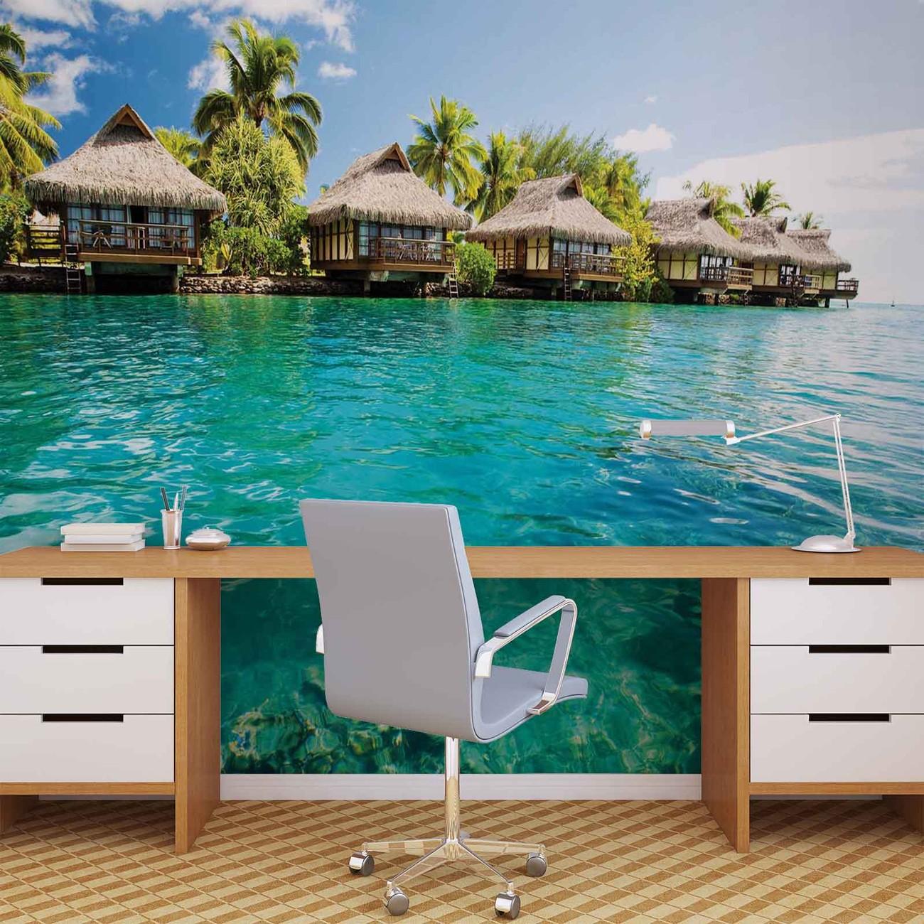 fototapete tapete insel karibik see tropische h tten bei europosters kostenloser versand. Black Bedroom Furniture Sets. Home Design Ideas