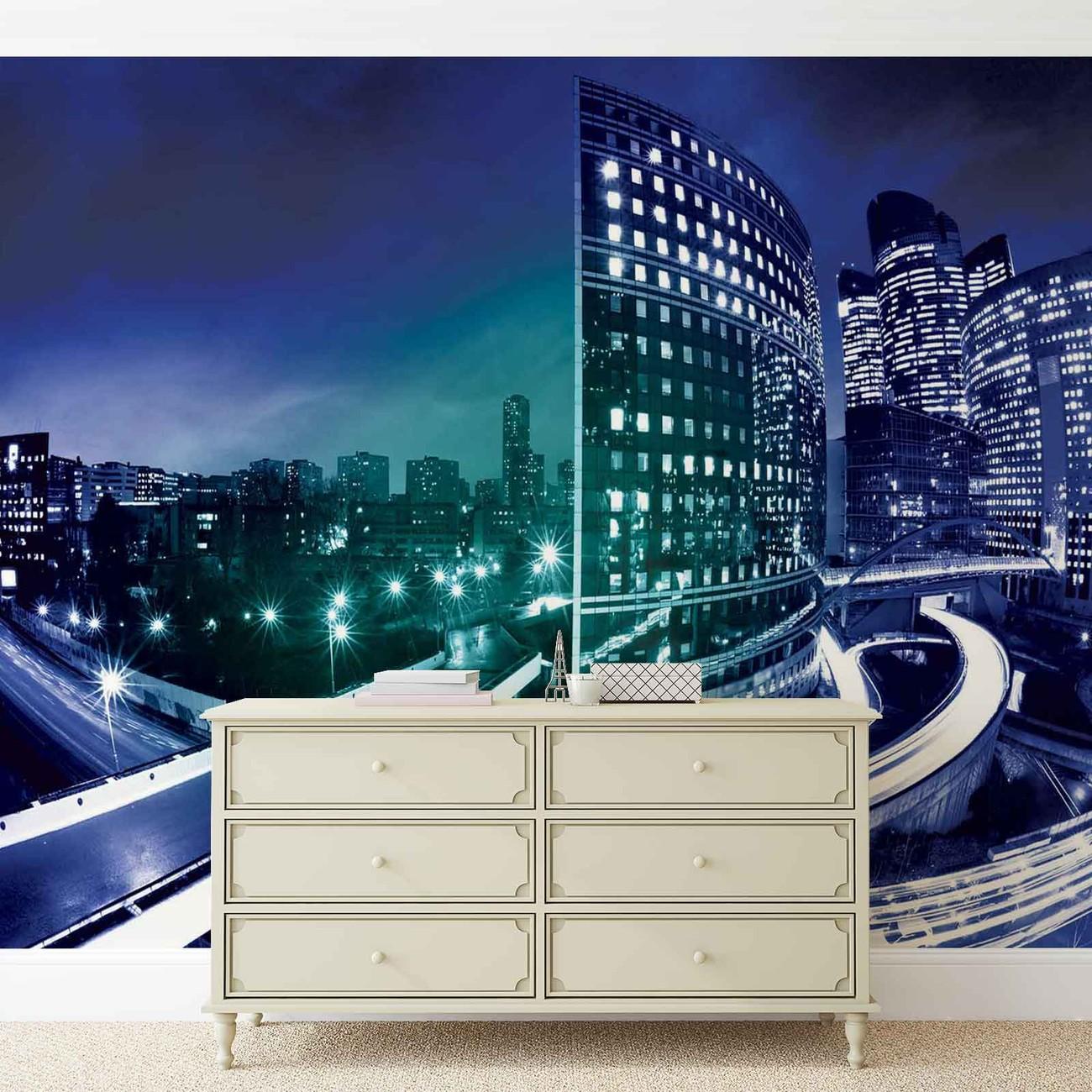 fototapete tapete city skyline nacht bei europosters. Black Bedroom Furniture Sets. Home Design Ideas