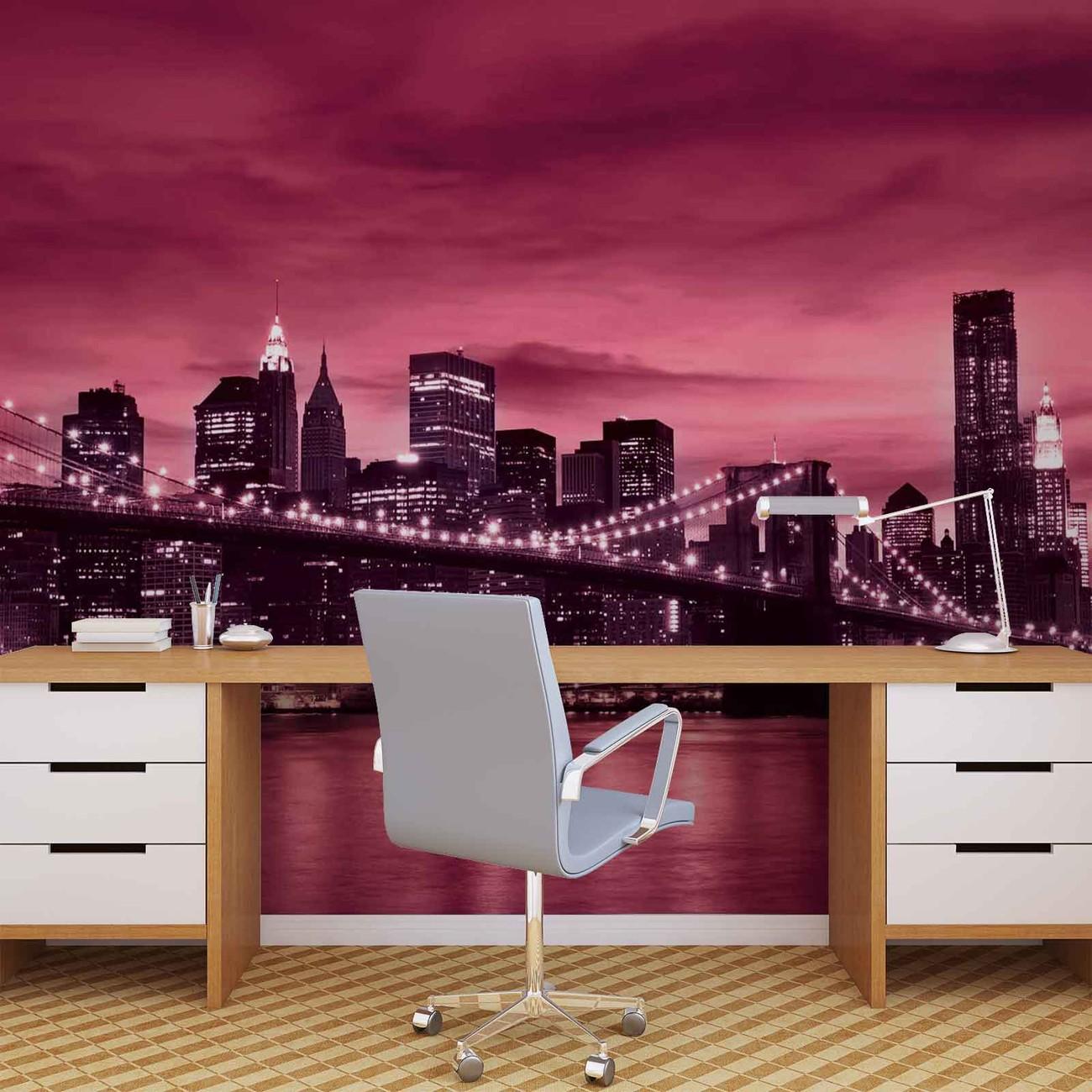 Fotomurale puente brooklyn ciudad de nueva york papel - Papel pintado nueva york ...