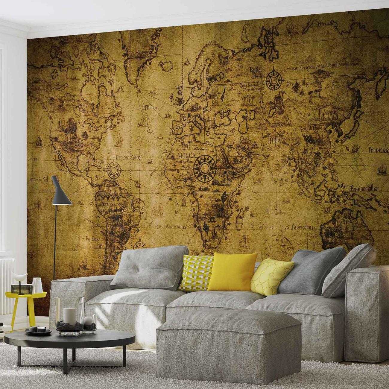 carte du monde s pia vintage poster mural papier peint acheter le sur. Black Bedroom Furniture Sets. Home Design Ideas