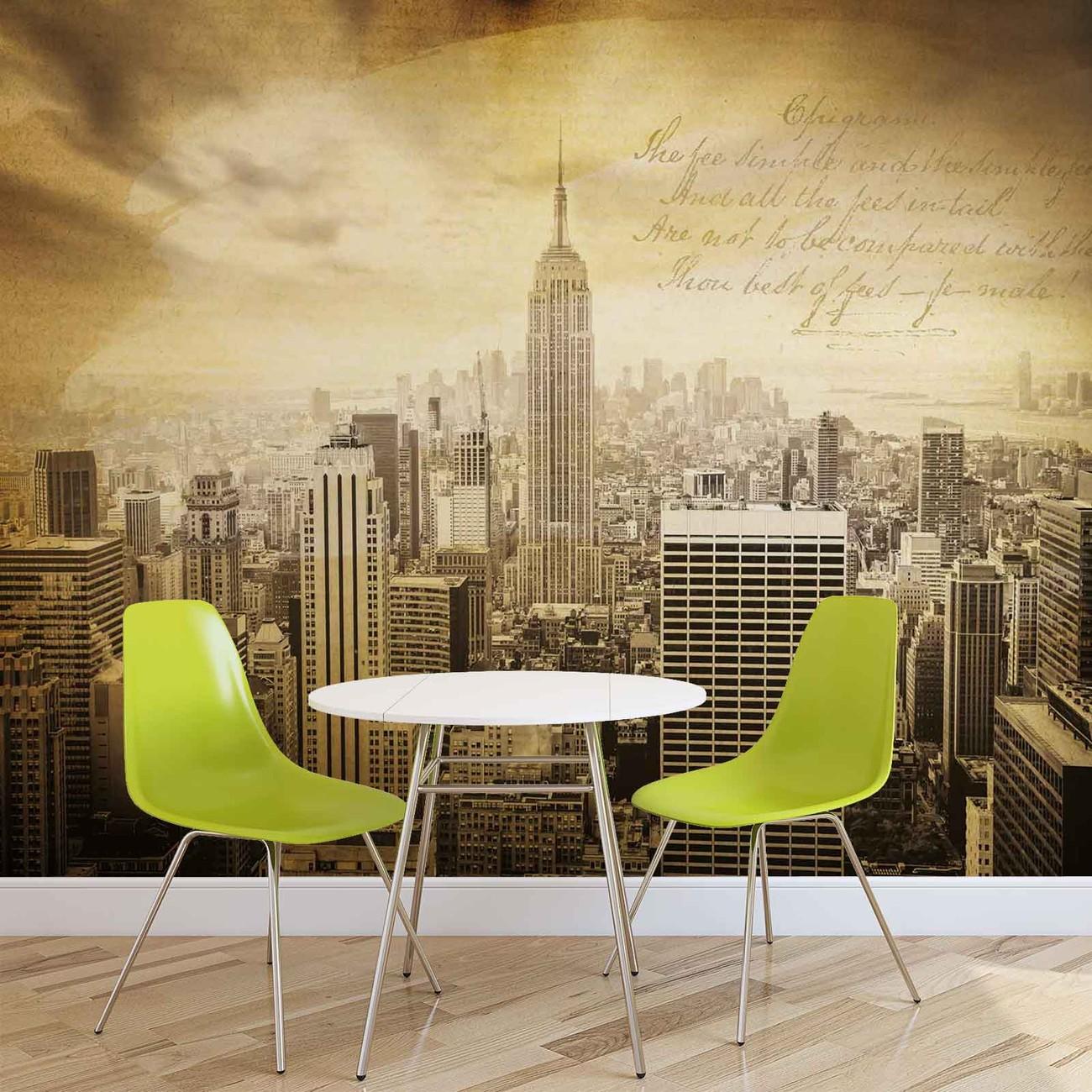 Fotomurale ciudad de nueva york vintage sepia papel - Papel pintado nueva york ...