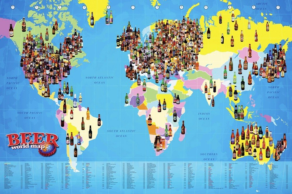 World map beer pster lmina compra en europosters pster world map beer gumiabroncs Choice Image