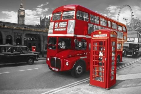 poster quadro londra bus su. Black Bedroom Furniture Sets. Home Design Ideas