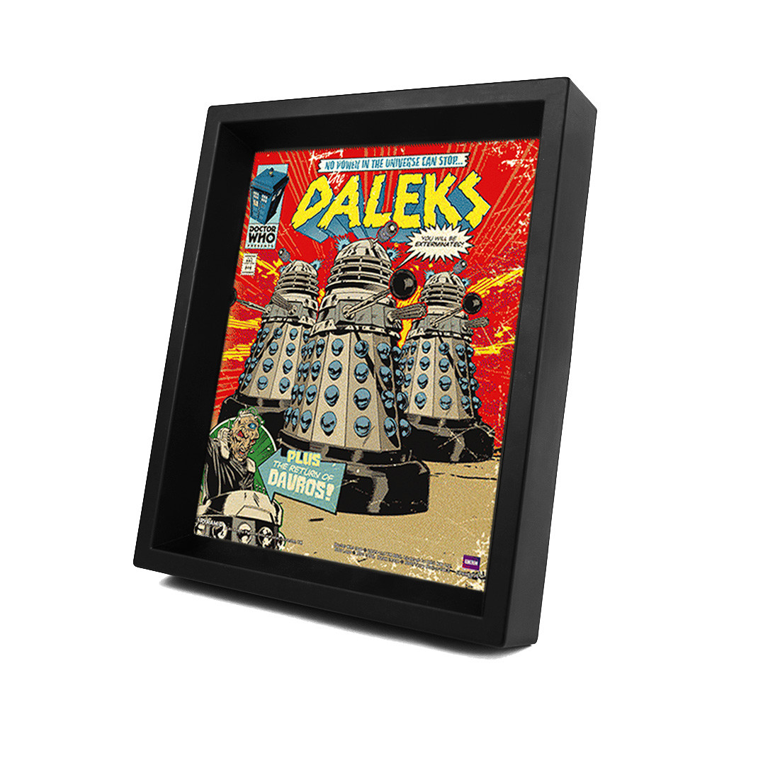 doctor who daleks comic cover poster en 3d avec cadre acheter le sur. Black Bedroom Furniture Sets. Home Design Ideas