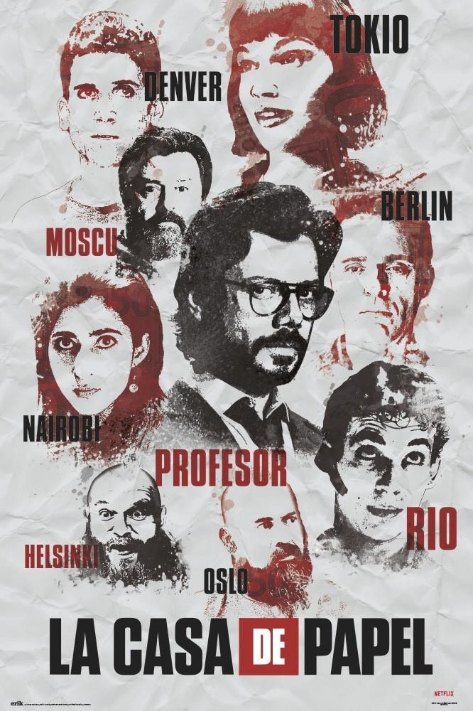 La Casa De Papel Characters Poster Affiche Acheter Le Sur Europosters Fr