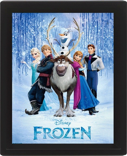 la reine des neiges cast poster en 3d avec cadre. Black Bedroom Furniture Sets. Home Design Ideas