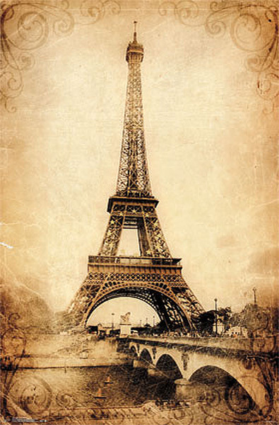 paris eiffel tower vintage poster affiche acheter le sur. Black Bedroom Furniture Sets. Home Design Ideas
