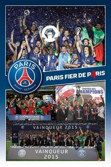 paris saint germain fc celebration poster affiche acheter le sur. Black Bedroom Furniture Sets. Home Design Ideas