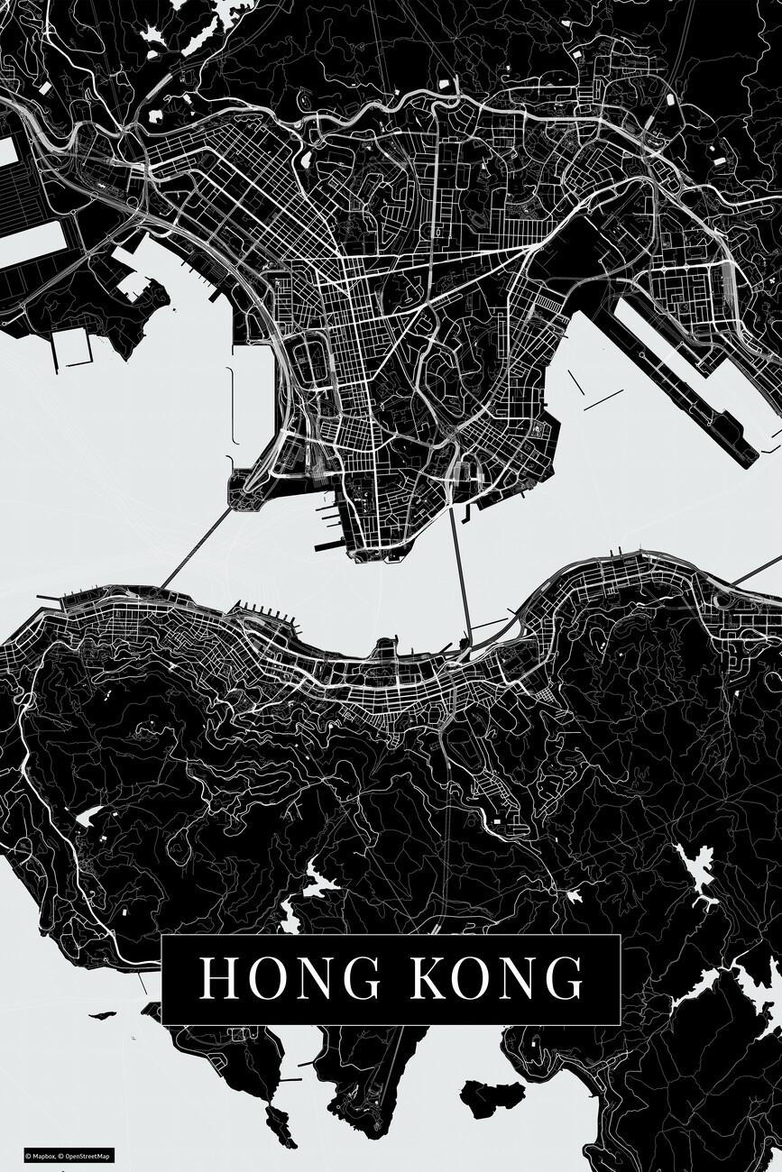 Cartina Hong Kong.Cartina Di Hong Kong Black ǀ Cartine Di Citta E Mappe Del Mondo Da Appendere